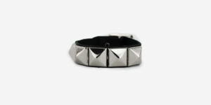 UNDERGROUND WRISTBAND – BLACK LEATHER – 1 ROW NICKEL PYRAMID STUDS ACCESSORIES FOR MEN AND WOMEN