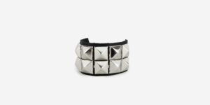 UNDERGROUND WRISTBAND – BLACK LEATHER – 2 ROW NICKEL PYRAMID STUDS ACCESSORIES FOR MEN AND WOMEN
