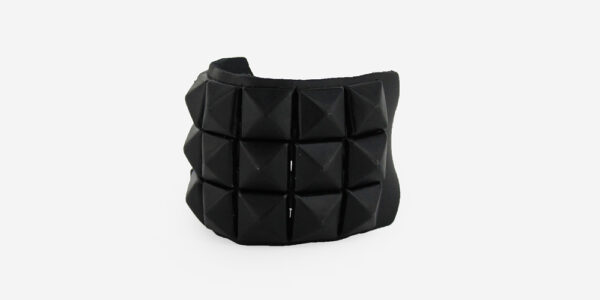 UNDERGROUND WRISTBAND – BLACK LEATHER – 3 ROW BLACK PYRAMID STUDS ACCESSORIES FOR MEN AND WOMEN
