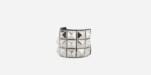 UNDERGROUND WRISTBAND – BLACK LEATHER – 3 ROW NICKEL PYRAMID STUDS ACCESSORIES FOR MEN AND WOMEN
