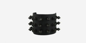 UNDERGROUND WRISTBAND – BLACK LEATHER – 3 ROW BLACK SPIKE STUDS ACCESSORIES FOR MEN AND WOMEN