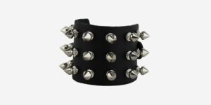 UNDERGROUND WRISTBAND – BLACK LEATHER – 3 ROW NICKEL SPIKE STUDS ACCESSORIES FOR MEN AND WOMEN