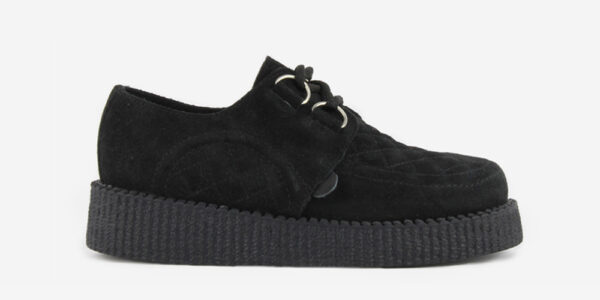 UNDERGROUND ORIGINAL WULFRUN CREEPER – QUILTED BLACK SUEDE – SHOES FOR MEN AND WOMEN