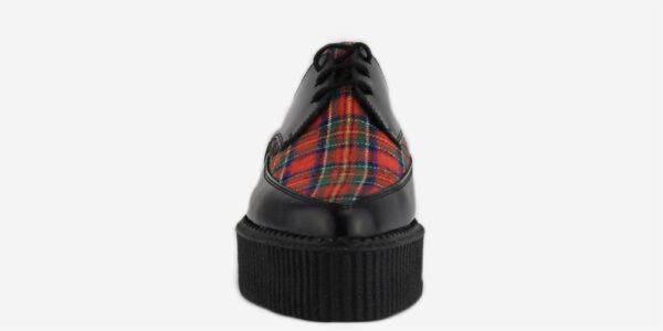 Underground Original barfly Creeper black leather and stewart tartan shoe for men and women