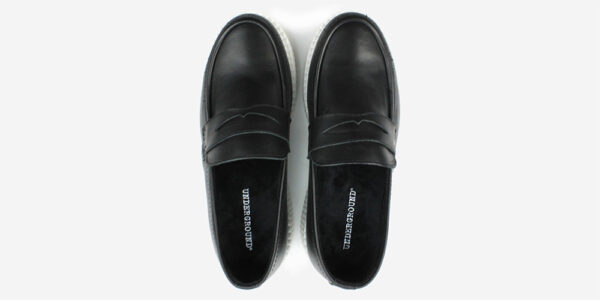 Underground Original Wulfrun Creeper loafer black leather with white sole shoe for men and women