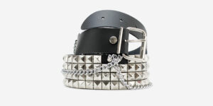 UNDERGROUND BELT – BLACK LEATHER – 4 ROW NICKEL PYRAMID STUDS & CHAINS ACCESSORIES FOR MEN AND WOMEN