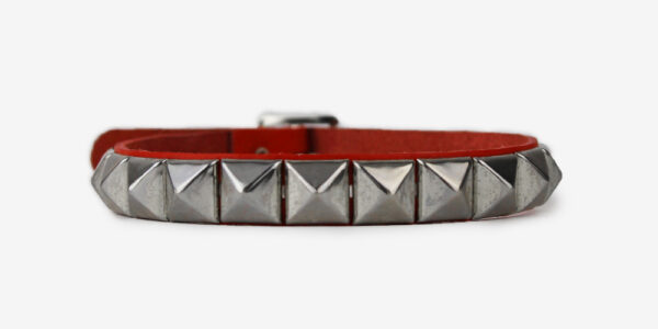 UNDERGROUND NECKBAND – RED LEATHER – 1 ROW NICKEL PYRAMID STUDS ACCESSORIES FOR MEN AND WOMEN