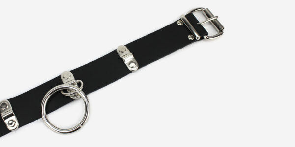 UNDERGROUND NECKBAND – BLACK LEATHER – NICKEL PLATES & RING ACCESSORIES FOR MEN AND WOMEN