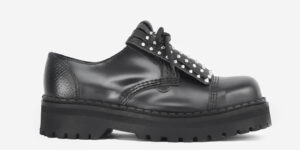 Underground Original Steel Cap Tracker Black leather shoe with studded fringe detail for men and women