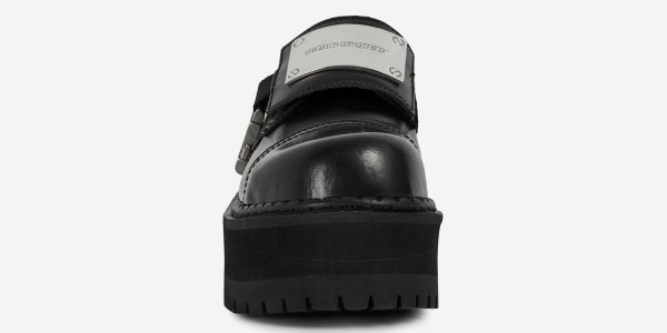 Underground Original Tracker steel toe cap shoe in black leather with buckle detail for men and women