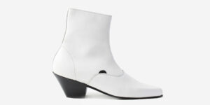 Underground England Marlon Winklepicker white leather boot with zip for men and women