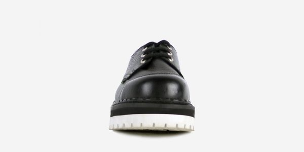 Steel Cap tracker black tumbled leather shoe with white sole for men and womenSTEEL CAP SHOE – BLACK TUMBLED LEATHER – WHITE DOUBLE SOLE – CUSTOM MADE