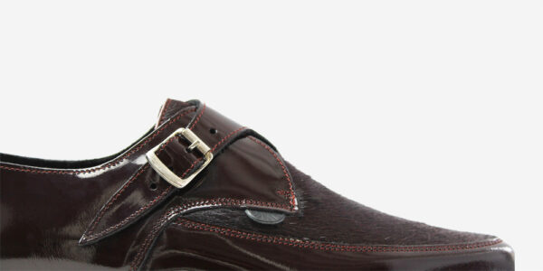 UNDERGROUND APOLLO CREEPER – BURGUNDY PATENT LEATHER & PONY HAIR – TRIPLE SOLE – CUSTOM MADE SHOES FOR MEN AND WOMEN
