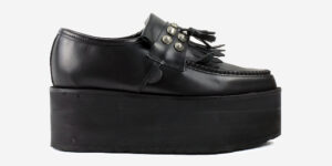 UNDERGROUND CREEPER LOAFER – BLACK LEATHER & STUDDED FRINGE – TRIPLE SOLE – CUSTOM MADE FOR MEN AND WOMEN