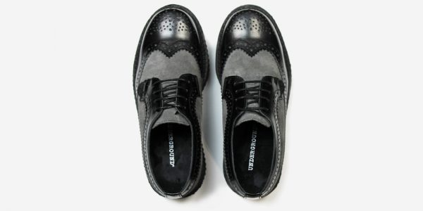 Underground England Macbeth brogue black leather and grey suede shoe for men and women