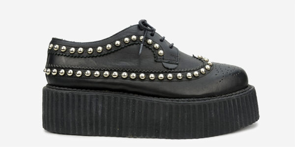 Underground England Macbeth brogue black leather and studs shoe for men and women