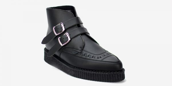 Underground Original Bowie black vegan friendly leather with plain buckle boot for men and women