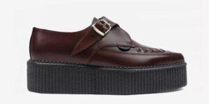 Underground Original Apollo Creeper burgundy grain leather buckle shoe for men and women