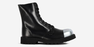 STORMER – 8 EYELET EXTERNAL STEEL CAP BOOT – BLACK LEATHER – SINGLE SOLE – CUSTOM MADE