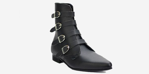 Underground England Peck Winklepicker black vegan leather friendly and silver plain buckles boot for men and women