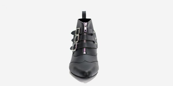 Underground England Winklepicker Blitz vegan friendly leather 3 strap boot with front zip for men and women