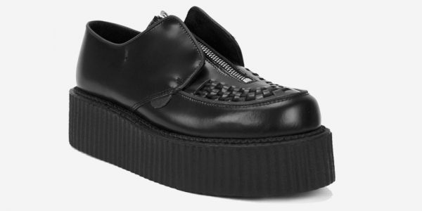 Underground Original Creeper black leather with zip shoe for men and women