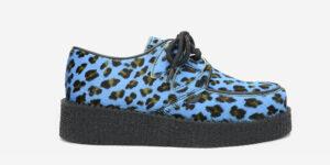 Underground Original Wulfrun Creeper blue leopard print pony hair shoe for men and women