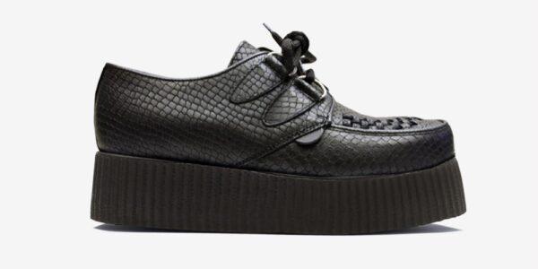 Underground Original Wulfrun Creeper black snake embossed leather shoe for men and women