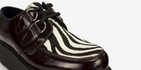 Wulfrun Creeper burgundy patent leather and black and white zebra pony hair shoe for men and women