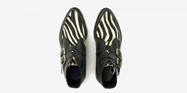 Underground Original Bowie black leather and zebra pony boot for men and women