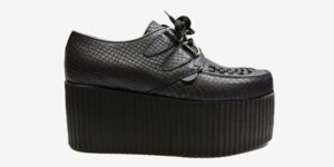 Underground Original Wulfrun Creeper black leather snake embossed shoe for men and women