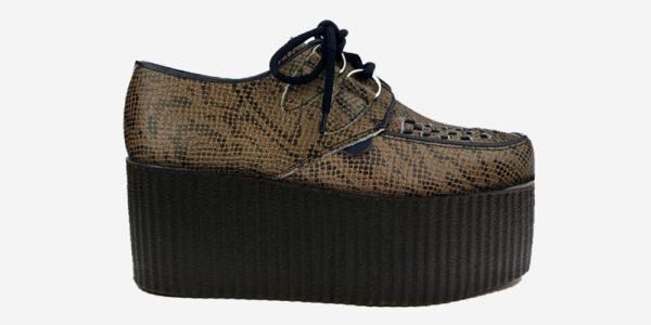 Underground Original Wulfrun Creeper leather snake embossed natural shoe for men and women