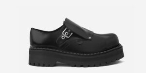 Underground England Original Tracker steel toe cap black leather with buckle shoe for men and women
