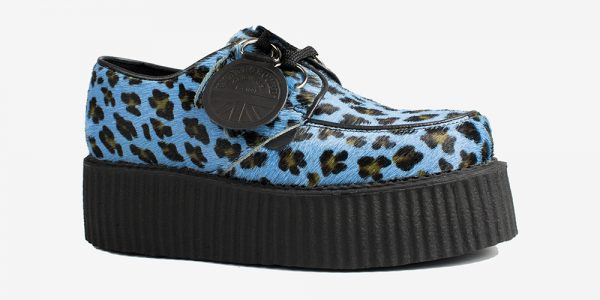 Underground Original Wulfrun Creeper blue leopard pony hair shoe for men and women