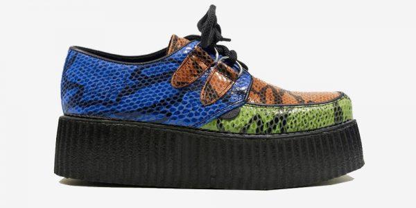 Underground Original Wulfrun Creeper green, orange and blue snakeskin embossed leather shoe for men and women