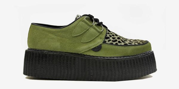 Underground Original Wulfrun Creeper apple green suede leather with leopard print pony hair shoe for men and women