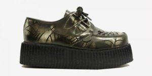 Underground Original Wulfrun Creeper black and white spiderweb rub-off leather shoe for men and women