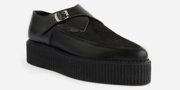 Underground Original Apollo Creeper Black leather and black pony hair buckle shoe for men and women