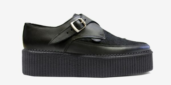 Underground Original Apollo Creeper Black grain leather and black pony hair buckle shoe for men and women