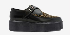 Underground Original Apollo Creeper Black leather and natural leopard pony hair buckle shoe for men and women