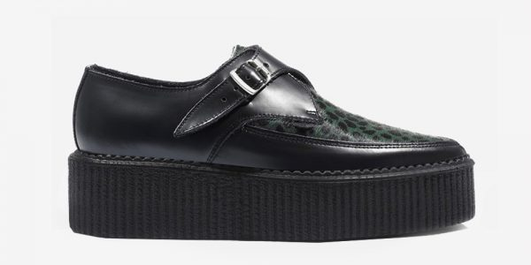 Underground Original Apollo Creeper Black leather and dark green leopard pony hair buckle shoe for men and women