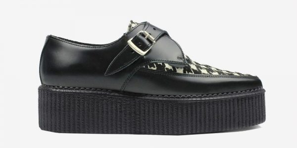 Underground Original Apollo Creeper Black leather and houndstooth print pony hair buckle shoe for men and women