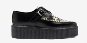 Underground Original Apollo Creeper Black leather and black and white leopard pony hair buckle shoe for men and women