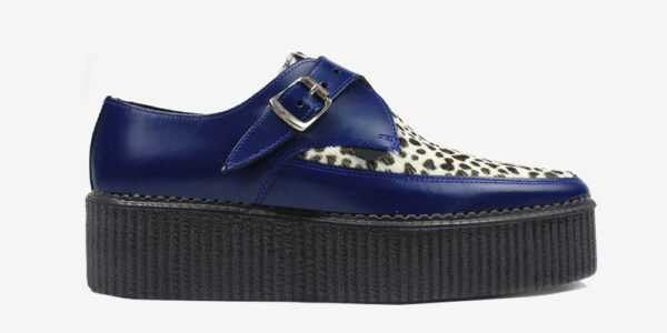 Underground Original Apollo Creeper royal blue leather and natural leopard print pony hair buckle shoe for men and women