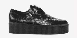 Underground Original Apollo Creeper black croc embossed buckle shoe for men and women