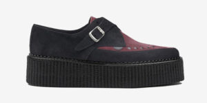 Underground Original Apollo Creeper black and burgundy suede leather buckle shoe for men and women
