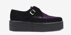 Underground Original Apollo Creeper black and purple suede leather buckle shoe for men and women