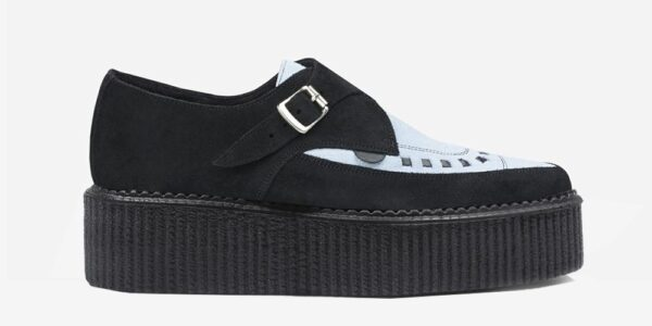 Underground Original Apollo Creeper black and sky blue suede leather buckle shoe for men and women