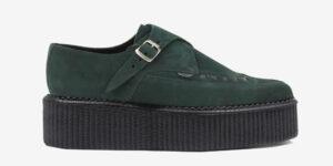 Underground Original Apollo Creeper black and dark green suede leather buckle shoe for men and women
