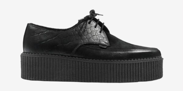 Underground Original barfly Creeper black crocodile embossed leather with black suede shoe for men and women
